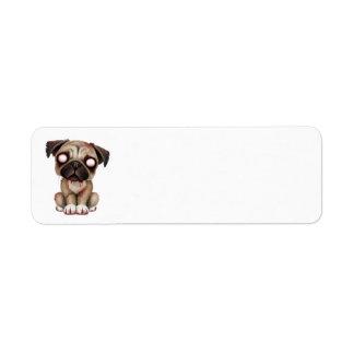Perro de perrito lindo del barro amasado del zombi etiqueta de remite