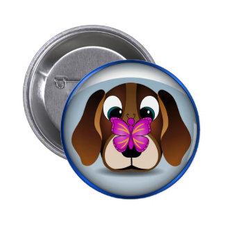 Perro de perrito lindo del beagle y botones chapa redonda 5 cm