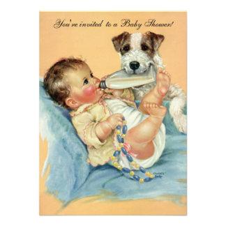 Perro de perrito lindo del biberón del vintage fi anuncio personalizado