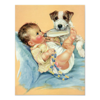 """Perro de perrito lindo del biberón del vintage, invitación 4.25"""" x 5.5"""""""