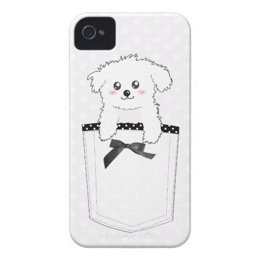 Perro de perrito lindo del bolsillo Case-Mate iPhone 4 funda