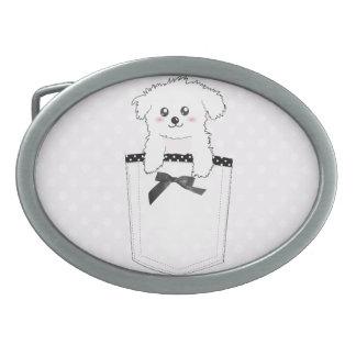 Perro de perrito lindo del bolsillo hebilla cinturón oval