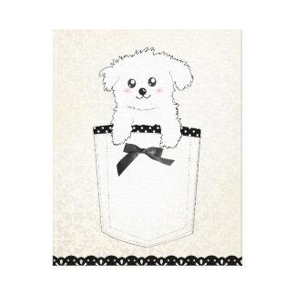 Perro de perrito lindo del bolsillo impresión en tela