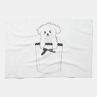 Perro de perrito lindo del bolsillo toalla de cocina