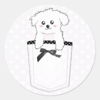 Perro de perrito lindo del bolsillo pegatina redonda