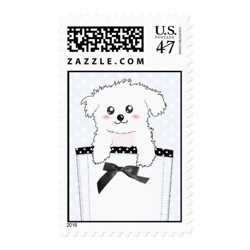 Perro de perrito lindo del bolsillo sello