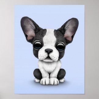 Perro de perrito lindo del dogo francés en azul cl impresiones