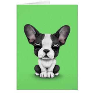 Perro de perrito lindo del dogo francés en verde felicitacion
