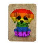 Perro de perrito lindo del orgullo gay del arco ir imanes de vinilo