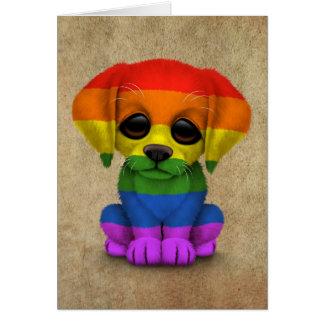 Perro de perrito lindo del orgullo gay del arco ir felicitaciones