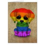 Perro de perrito lindo del orgullo gay del arco felicitaciones