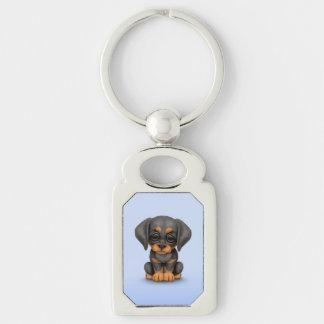 Perro de perrito lindo del Pinscher del Doberman Llavero Plateado Rectangular