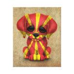 Perro de perrito macedónico patriótico lindo de la impresion de lienzo