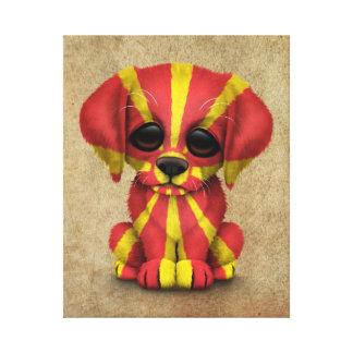 Perro de perrito macedónico patriótico lindo de la lona envuelta para galerias