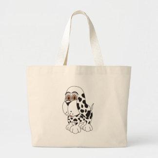 Perro de perrito manchado bolsa tela grande