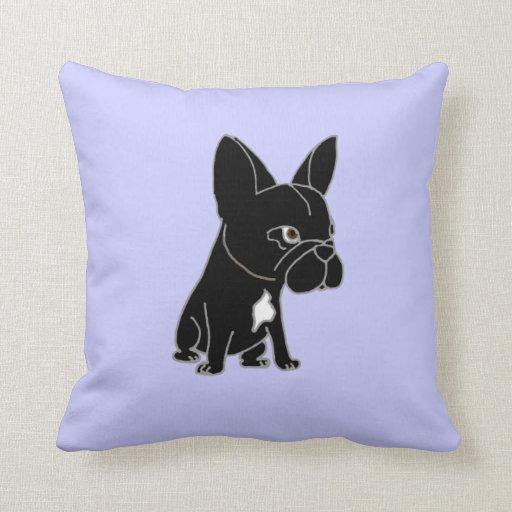 Perro de perrito negro divertido del dogo francés cojín