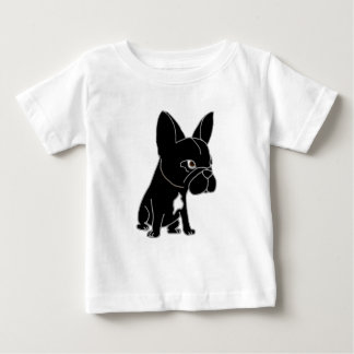 Perro de perrito negro divertido del dogo francés playera de bebé
