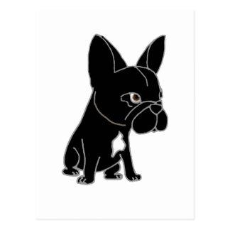 Perro de perrito negro divertido del dogo francés tarjetas postales