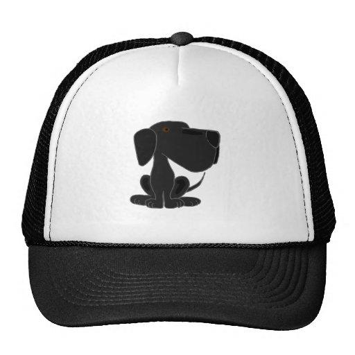 Perro de perrito negro enrrollado de Labrador Gorras