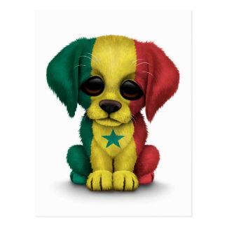 Perro de perrito patriótico lindo de la bandera de tarjeta postal