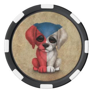 Perro de perrito patriótico lindo de la República Juego De Fichas De Póquer