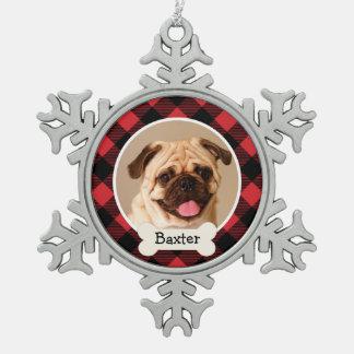 Perro de perrito personalizado el | del ornamento adorno de peltre en forma de copo de nieve