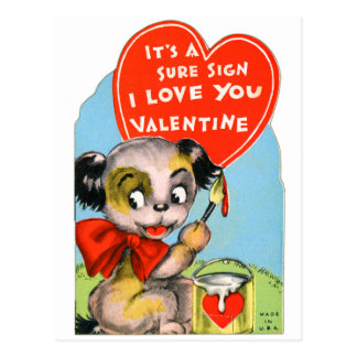 Perro de perrito retro de la tarjeta del día de tarjetas postales