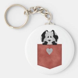 Perro de perrito rojo del bolsillo de Jean Llavero Redondo Tipo Pin