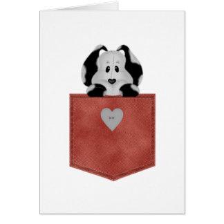 Perro de perrito rojo del bolsillo de Jean Tarjeta De Felicitación