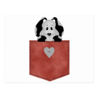 Perro de perrito rojo del bolsillo de Jean Tarjetas Postales
