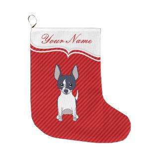 Perro de perrito sonriente blanco negro de la calcetín de navidad grande