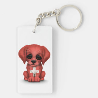 Perro de perrito suizo patriótico lindo de la llavero rectangular acrílico a doble cara