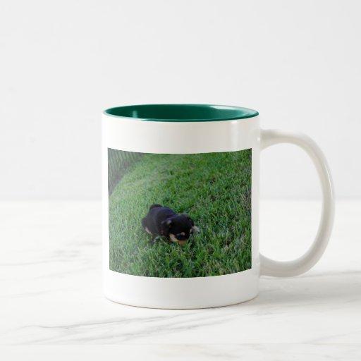 Perro de perrito taza dos tonos
