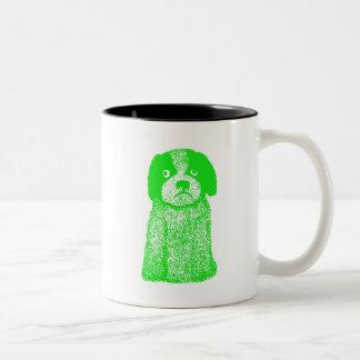 Perro de perrito verde taza de dos tonos