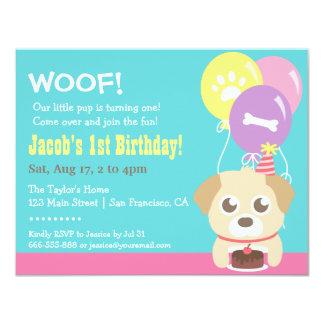 """Perro de perrito y fiesta de cumpleaños lindos de invitación 4.25"""" x 5.5"""""""