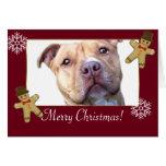 Perro de Pitbull de las Felices Navidad Tarjeta De Felicitación