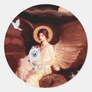 Perro de Pomerania esquimal 1 - ángel asentado Etiquetas Redondas