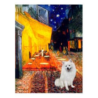 Perro de Pomerania esquimal 1 - café de la terraza Tarjetas Postales