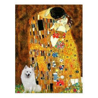 Perro de Pomerania esquimal 1 - el beso Tarjetas Postales