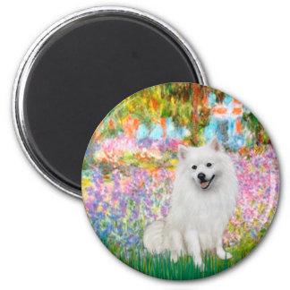 Perro de Pomerania esquimal 1 - jardín Imán Redondo 5 Cm