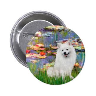 Perro de Pomerania esquimal 1 - lirios 2 Pin Redondo 5 Cm