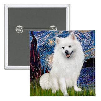 Perro de Pomerania esquimal 1 - noche estrellada ( Pin Cuadrada 5 Cm
