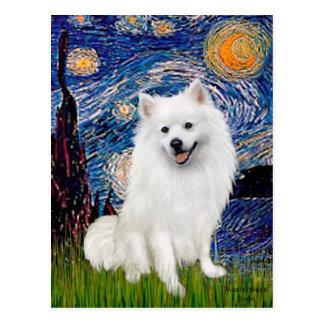 Perro de Pomerania esquimal 1 - noche estrellada Postal