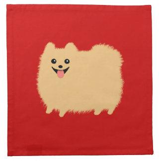 Perro de Pomeranian en el fondo rojo (personalizab Servilleta Imprimida