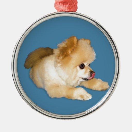 Perro de Pomeranian que pega la lengua hacia fuera Adorno Para Reyes