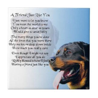 Perro de Rottweiler - teja del poema del amigo