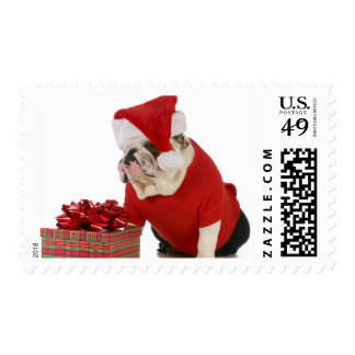 Perro de Santa - dogo inglés vestido como Santa Estampillas