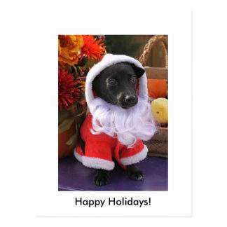 Perro de Santa - postal del día de fiesta