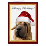 Perro de Shar Pei del navidad Tarjeta De Felicitación