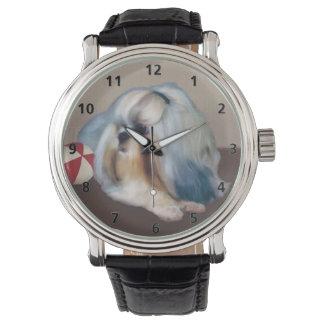 Perro de Shih Tzu con personalizable de la bola Relojes De Pulsera
